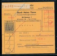 Paketkarte....   - Beleg   (  G9217 ) Siehe Foto - BRD