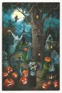 Halloween, Witch, Ghost, Moon, Pumpkins, Cemetery, Unused Postcard - Zonder Classificatie