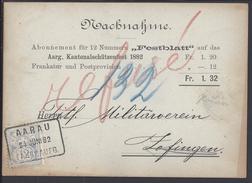 """SUISSE - 1882 - """" Nachnahme """" Carte D'abonnement Contre Remboursement De Aarau Pour Zofingen - B/TB - - Storia Postale"""
