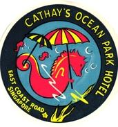 1 Hotel Label Etiquette Sea Horse Hippocampe Zeepaardje Pub  Hotel Cathy's Ocean SINGAPORE - Hotel Labels