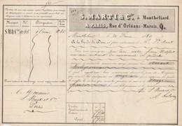 Lettre Voiture MARTI & Cie MONTBELIARD Doubs 20/2/1850 Pour Marty Paris - Transport