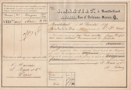 Lettre Voiture MARTI & Cie MONTBELIARD Doubs 18/12/1849 Pour Marty Paris - Transport