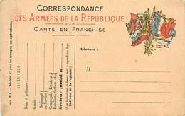 A-17-4407 : CARTE CORRESPONDANCE MILITAIRE EN FRANCHISE POSTALE. DRAPEAUX. - Marcofilia (sobres)