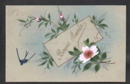 CPA FANTAISIE CELLULOID CELLULOIDE DOREE OR Art Nouveau Déco Peinte à La Main Oiseau Hirondelle Fleurs Bonne Année -#440 - New Year