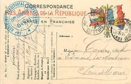 A-17-4409 : CARTE CORRESPONDANCE MILITAIRE EN FRANCHISE POSTALE. DRAPEAUX. 34° REGIMENT TERRITORIAL D INFANTERIE. 15° C - Marcofilia (sobres)