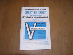 PROGRAMME 45 ème CIRCUIT DE VITESSE INTERNATIONAL 1976 CHIMAY Ticket Entrée International Moto Sidecars Auto Pub - Programma's