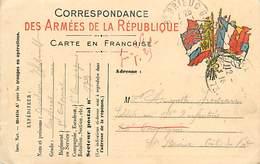 A-17-4416 : CARTE CORRESPONDANCE MILITAIRE EN FRANCHISE POSTALE. DRAPEAUX. - Cartes De Franchise Militaire