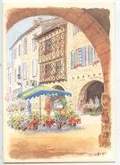 Lauzerte (tarn & Gar) La Place Un Jour De Marché  - Aquarelle D. Lebeau (cp Vierge N°436 Ouranos) - Lauzerte