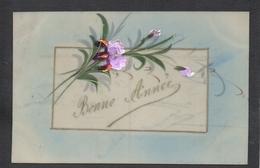 CPA FANTAISIE CELLULOID CELLULOIDE IRIS POURPRE DORURE OR Art Nouveau Art Déco Peinte à La Main Fleurs Bonne Année -#441 - New Year