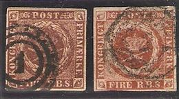 1851 Yvert 2a +2b Obl - 1851-63 (Frederik VII)