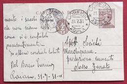 CORFINIO AQUILA Annullo SU INTERO POSTALE MICHETTI 30 C. PER SASSO FERRATO IL 31/7/31 - 1900-44 Vittorio Emanuele III