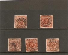 1854 2x Yvert 4 + 2x 8 +10 Obl - 1851-63 (Frederik VII)