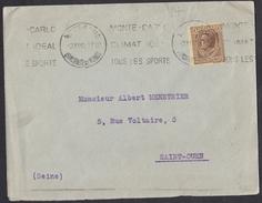 Monaco: Cover To France, 1932, 1 Stamp, Prince (minor Damage) - Monaco