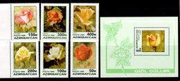 Azerbaijan 1996 Aserbaidschan Mi 320-325 + Block 24(326) Rose Breeds / Rosenzüchtungen **/MNH - Roses