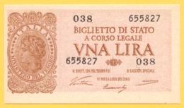 1 LIRA - ITALIA LAUREATA - DECR. 23 - 11 - 1944 - FDS - [ 1] …-1946 : Regno