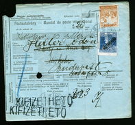 A4553) Ungarn Postanweisung Money Order 1919 Umgeleitet Nach Budapest - Ungarn