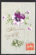 CPA FANTAISIE CELLULOID CELLULOIDE DOREE OR Art Nouveau Art Déco Peinte à La Main Jolies Fleurs Bonne Fête -#445 - Other