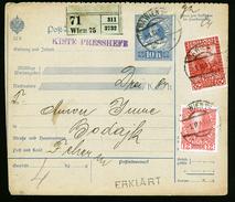 A4555) Österreich Austria Nachnahme-Paketkarte Von Wien 1.2.11 N. Bodajk - 1850-1918 Imperium