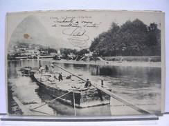 38 - L'ISERE - LA TRONCHE - L'ILE VERTE - ANIMEE - BARGE - PENICHE - DOS SIMPLE - 1904 - Sassenage