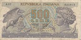 BILLETE DE ITALIA DE 500 LIRAS DEL AÑO 1966 -MEDUSA  (BANKNOTE) - 500 Lire