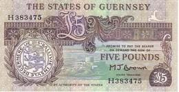 BILLETE DE GUERNSEY DE 5 POUNDS CALIDAD EBC (XF)  (BANKNOTE) - Guernsey