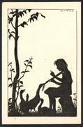 A1421 - Alte Künstlerkarte - Schattenbild - Carus - N. Gel - Silhouettes