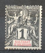 Ex-colonies & Protectorats (ANJOUAN) - 1892-99 - N° 1 - 1 C. Noir Sur Azuré - Ungebraucht