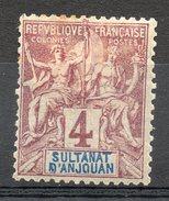 Ex-colonies & Protectorats (ANJOUAN) - 1892-99 - N° 3 - 4 C. Lilas-brun Sur Gris - Ungebraucht