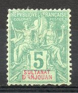 Ex-colonies & Protectorats (ANJOUAN) - 1892-99 - N° 4 - 5 C. Vert - Ungebraucht