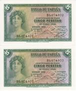 PAREJA CORRELATIVA DE 5 PTAS DEL AÑO 1935 SERIE B SIN CIRCULAR-PLANCHA-UNCIRCULATED - 5 Pesetas