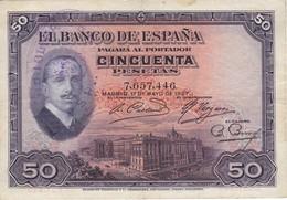 BILLETE DE 50 PTAS  DEL AÑO 1927 CON DOBLE RESELLO REPUBLICA ESPAÑOLA - TINTA Y SECO (BANKNOTE) - 50 Pesetas