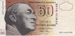 BILLETE DE FINLANDIA DE 50 MARKKAA DEL AÑO 1986  (BANKNOTE) - Finlandia