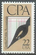 1987 22 Cents CPA Mint Never Hinged - United States