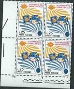 Italia 1967; Giornata Del Francobollo: Quartina Di Angolo Inferiore Sinistro. - 6. 1946-.. Repubblica