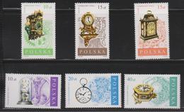 M 502) Polen Polska 1988 Mi# 3142-3147 **: Uhren Wand- Pendel- Kamin- Konsolen- Kachel- Uhr - Uhrmacherei