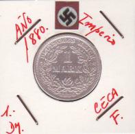 GERMANI  DEUTSCHES REICH  1-DM SILVER  Imperio Año 1880 - [ 2] 1871-1918: Deutsches Kaiserreich