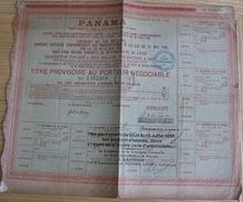 Titre Provisoire Au  Porteur Négociable PANAMA  N°1,765,969 Du 26 Juin 1888 Titre Seul SANS Coupon Voir Clichés - Navigation