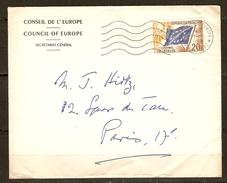 LETTRE CONSEIL DE L'EUROPE SECRÉTARIAT GÉNÉRAL COUNCIL OF EUROPE 11/10/1958 STRASBOURG POUR PARIS - Y & T N° 18 - 2 Sc - Lettres & Documents