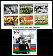 Azerbaijan 1997 Aserbaidschan Mi 399-404 + Block 33(405)  Football World Cup, France (1998): Former World Championships - Coupe Du Monde