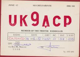 QSL Card Amateur Radio Station Tsjeljabinsk Chelyabinsk Russia USSR Moscow 1976 Troitsk Radioclub  Funkkarte QTH - Radio Amatoriale