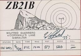 QSL Card Amateur Radio Station Gibraltar UK 1985 Funkkarte QTH - Radio Amateur