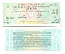 Argentina 1 Austral 1991 Provincia Tucuman Pick S2711.b.1 UNC - Argentina