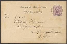 G590 DR Ganzsache Postkarte P 5 Pfennige 1877 Schöner K1 Kreisstempel Enzheim Firmenpost N. Emmendingen - Entiers Postaux