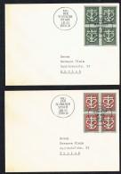 1945  Don Suisse  Zum 19-20 Blocs De 4 Sur 2 Lettres Même Adresse  Oblit Journée Du Don 3 Mars 1945 - Schweiz