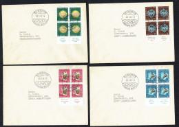 1948  Jeux Olympiques D'hiver   Blocs De 4 Sur Lettres Même Adresse Oblitération St Moritz 30-1-48 - Covers & Documents