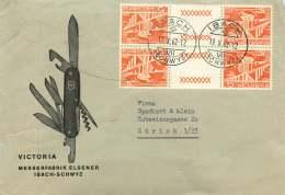 1962  Lettre Enveloppe Illustrée Canif Suisse - Zum S60 X2 - Lettres & Documents