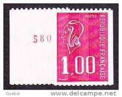 France N° 1895 A ** Marianne De Béquet Le 1f00 Rouge De Roulette Numéro Rouge Au Verso - Nuevos