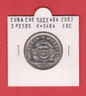 "CUBA  3  PESOS  ""ERNESTO CHE GUEVARA"" Niquel-Acero KM#346a  2.002 EBC/XF   DL-7628 - Cuba"