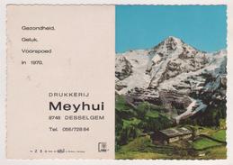 CALENDRIER 1970 ( PAYSAGE DE MONTAGNE ) IMPRESSION MEYHUI DESSELGEM BELGIQUE ( EN NEERLANDAIS ) VOIR LES SCANNERS - Calendriers