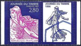 France 1996 - Stamp Day ( Mi 3131 - YT 2991a ) MNH** + Label - Frankreich
